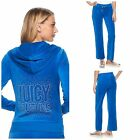 NWT Juicy Couture Tracksuit Women Velour Embellished Jacket and Pants Blue  M L