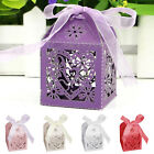 50-100Pcs Love Heart Laser Cut Candy Gift Boxes With Ribbon Wedding Party Favor