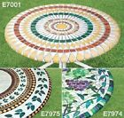"ELASTICIZED Vineyard Vinyl Table Cover Mosaic Grape 48"" Round Outdoor Patio ~"
