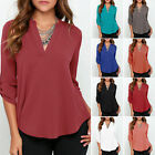 Plus Size Oversized Women's V Neck Summer Casual Loose Blouse T-shirt Tops Shirt