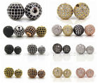 Black Clear Cubic Zirconia Micro Pave Round Ball Bracelet Connector Charm Beads