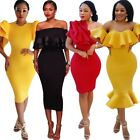Elegant Women Bodycon Ruffle Cocktail Evening Party Gown Prom Mini Pencil Dress