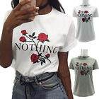 2017 Women's Cotton T-shirt Rose Letters 3D Printing Leisure T-shirts S-XL