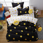 NEW Emoji Bedding Set Smiling Face Duvet Cover with Pillowcase and Flat Sheet