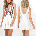Women Floral Embroidery Sleeveless V-neck Dress Brace Skirt Mini Short Dresses