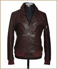 90's Classic Light Brown Mens Bomber Style Real Analine Cowhide Leather Jacket