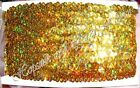 "7.5m STRETCH 4 Row 1½""  HOLOGRAM ELASTIC SEQUIN TRIM 38mm Wide Card Metallic"