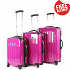 Pink Suitcase Luggage Set 3 Hard Shell 4 Wheel Spinner Lightweight Travel Bags