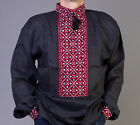 FATHER'S DAY SALE VYSHYVANKA men Black Red White Embroidery Linen SHIRT S-4XL