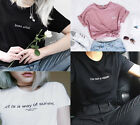 New Funny Letters Print T-shirts Women Men Summer Tees Tops Birthday Gift Cotton