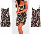 Womens Black 90's Strappy V Neck Floral Print Evening Party Ladies Dress 8-14