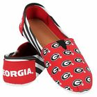 NCAA College Team Logo Stripe Womens Slip On Canvas Shoes - Choose Team фото