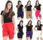 WOMEN LADIES CASUAL EXTRA LENGTH LINEN SHORTS SUMMER HOLIDAYS BEACH WEAR 10-16