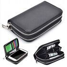 (Black)Luxury PU Leather Credit ID Card Holder Zip Wallet Case For LG Phones