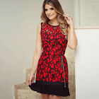 Fashion Women Sleeveless Floral Bodycon Mini Dress Short Casual Pencil Cocktail