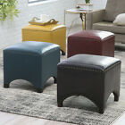 Bonded Leather Square Nailhead Trim Ottoman Home Living Room Bedroom Furniture
