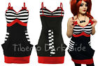 Vixxsin Fast Black & White Stripes Red Bow Pocket Goth Punk Summer Strap Dress