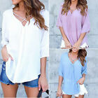 New Womens V-neck Top Blouse Soft Chiffon Half Sleeve Ladies Loose T shirt Tops