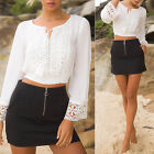 2017 Summer Women Casual Lace long sleeve lace-up chiffon blouse Crop top White