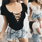2017 Womens Bandage Short Sleeve Leotard Tops V Neck Lace-UP Jumpsuits Bodysuit