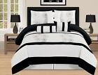 7 Pc luxury King Queen Bed In a Bag Comforter Set Aqua Brown Blue/Black white