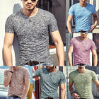 Stylish Men's Short Sleeve Shirt V-neck T-shirt Tee Top Work Holiday Plus Size