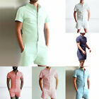 Fashion Man's Casual Short Sleeve Stand Collar Suspender Shorts Jumpsuit Pants