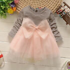 Baby Girls Princess Tulle Tutu Skirt Long Sleeve Bow Dress Party Wedding Clothes