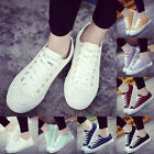 Ladies Womens Girls Flat Laced Up Canvas Sneakers Trainers Casual Shoes 8 Colors