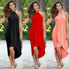 Women Boho Long Dress Halter Neck Irregular Summer Beach Party Evening Maxi Dres