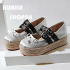 Chic Women's Bowknot Ladies Sweet Girl's Buckle strap Espadrilles Platform Shoes