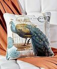 16 Inch Peacock Throw Pillow Exotic Living Room Couch Bedroo