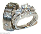 His and Hers Wedding Rings 3 pc Engagement Ring Set Sterling Silver & Titanium