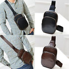 US Men Leather Chest Cycle Sling Satchel Shoulder Crossbody Bag Day Pack  Purse