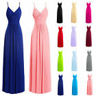 Long Spaghetti Chiffon Prom Dresses Bridesmaid Evening Formal Party Gown Stock