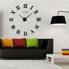 DIY 3D Wall Clock Art Mirror Sticker Metal Watches Roman Numeral Home Decoration