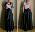 WXFUS Vintage Women Stretch HighWaist Flared Pleated Swing Long Maxi Skirt Dress