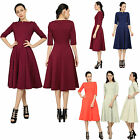 MARYCRAFTS WOMEN'S ELEGANT FIT FLARE TEA MIDI DRESS OFFICE BUSINESS WORK DRESSES