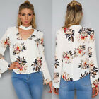 Fashion Women Long Sleeve High-V Floral Printed Loose Shirt Casual Tops Blouse