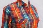 COWGIRL UP South Western SANTA FE  AZTEC/TRIBAL Embroidered Plaid  Snap Shirt