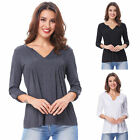 Women Blouse Top Long Sleeve Ladies Casual V Neck T-Shirt Loose Top SIZE: S-XL