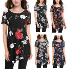 New Women's Mesh With Lining Irregular Hemline Flared Tunic Floral Printed Tops