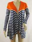 WOMEN'S WATERFALL OPEN CARDIGAN IN BLUE STRIPES WITH RED LONG SLEEVE SIZE UK 10