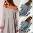 UK Women's Holiday Casual Sexy Off Shoulder Long Sleeve Summer Dress Size S M L