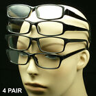4 PAIR BLACK READING GLASSES PACK HIGH POWER EXTRA STRENGTH CLEAR LOT PLASTIC