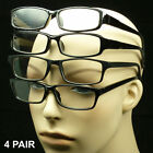 4 PAIR BLACK READING GLASSES PACK POWER CLEAR LENS LOT NEW MIX MEN WOMEN