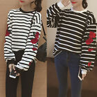 Women Leisure Long Sleeve Blouse Stripe Pullover Shirt Tops Loose T-Shirt Winter