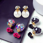 Korean Fashion  Rose Crystal Ball Ear Gift Women's Double Sides  Earrings Stud