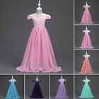Girl Kid Dress Flower Wedding Pageant Long Maxi Gown Lace Chiffon Prom For 6-14Y