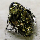 ATTRACTIVE GENUINE GREEN BALTIC AMBER 925 STERLING SILVER RING SIZE 5-10